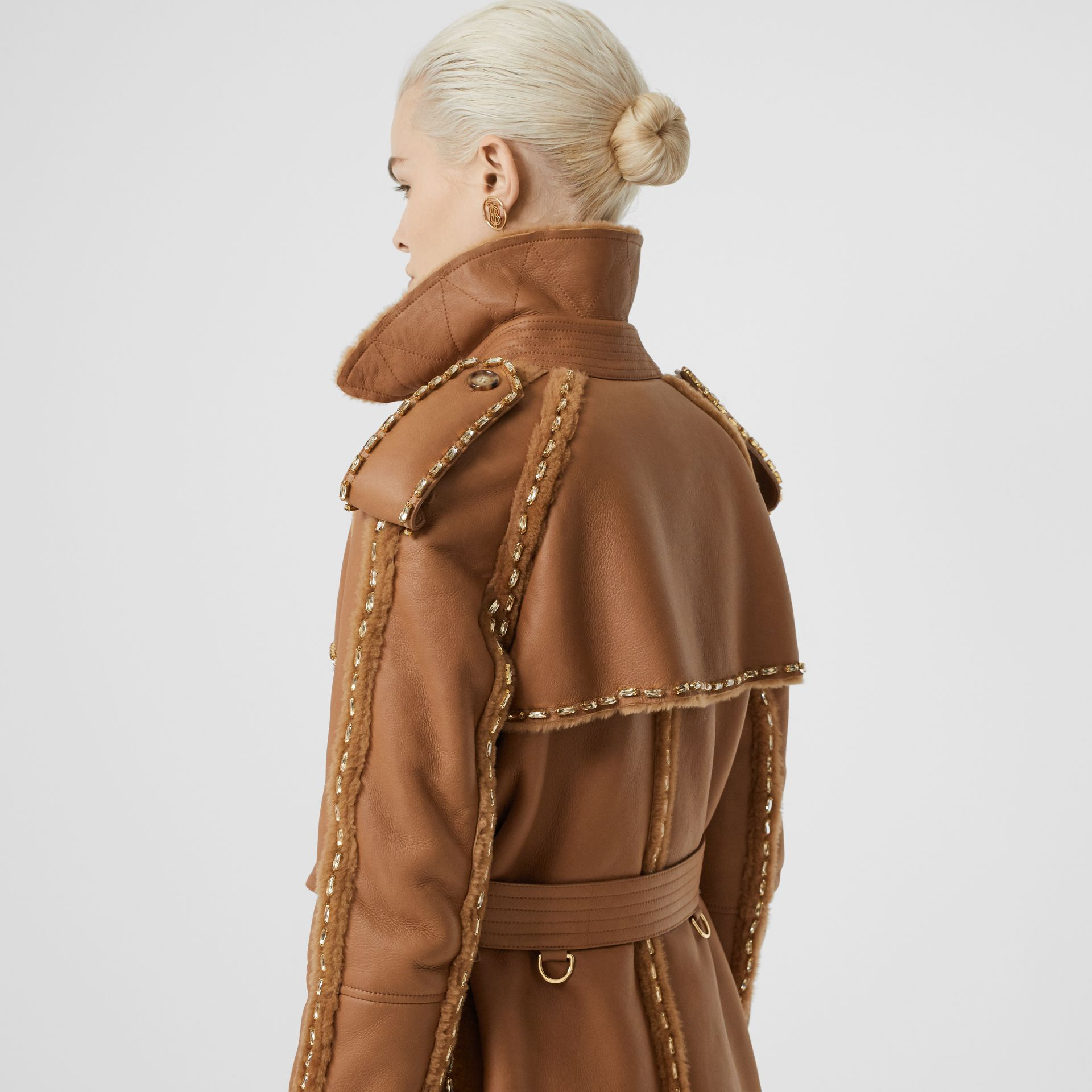 Embellished Shearling Trench Coat in Warm Camel - Women | Burberry - gallery image 1