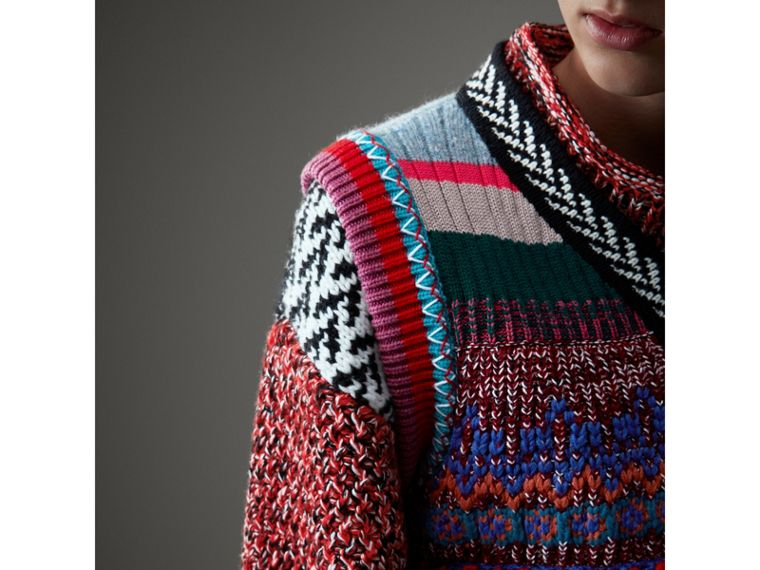 Hand-embroidered Wool Cashmere Blend Tank Top in Multicolour - Women | Burberry United Kingdom - cell image 1