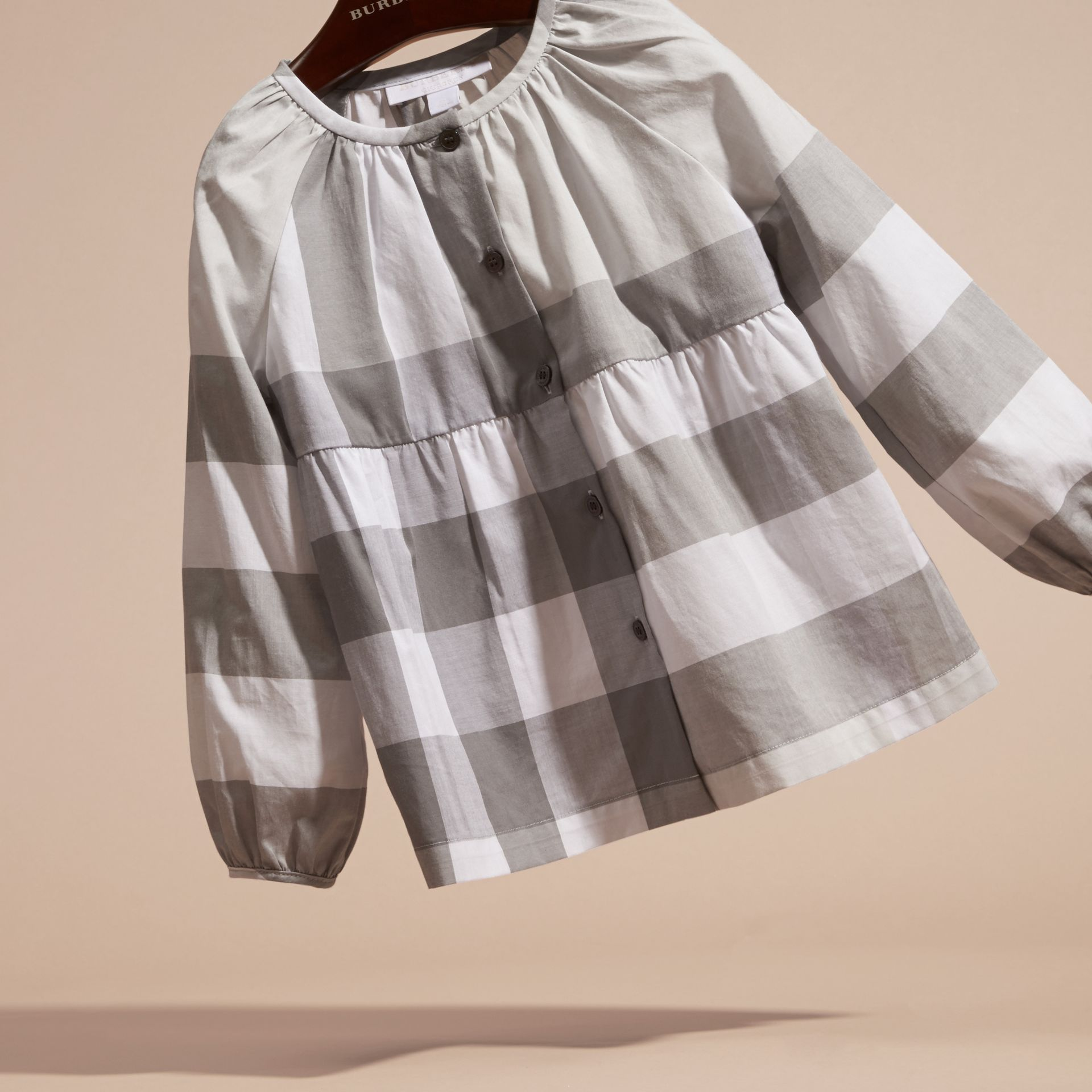 Light grey Puff Sleeve Check Cotton Blouse Light Grey - gallery image 3
