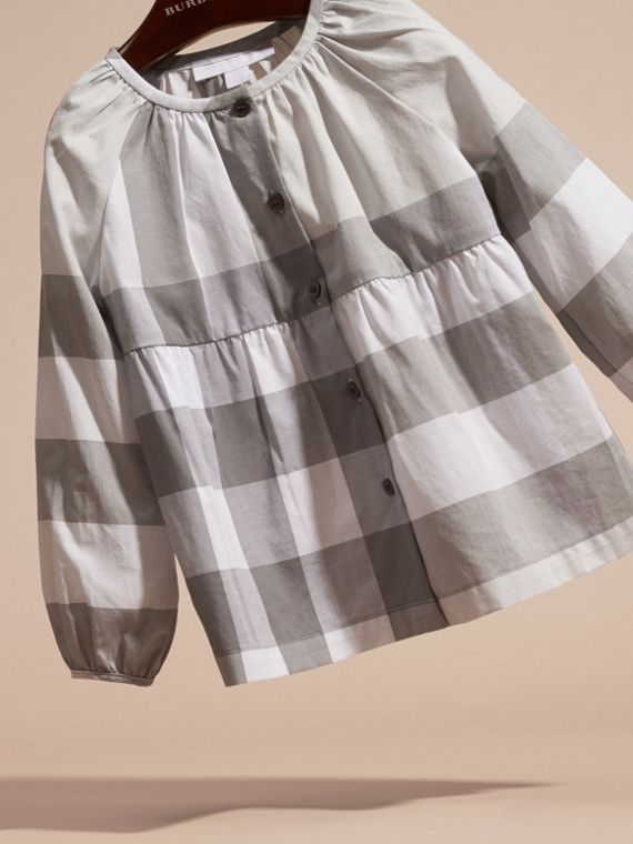 Light grey Puff Sleeve Check Cotton Blouse Light Grey - cell image 2