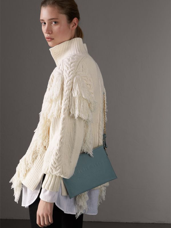 Embossed Leather Clutch Bag in Dusty Teal Blue - Women | Burberry United Kingdom - cell image 2