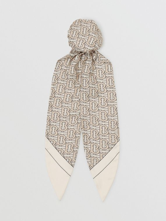 Monogram Print Silk Hair Scarf in Sesame