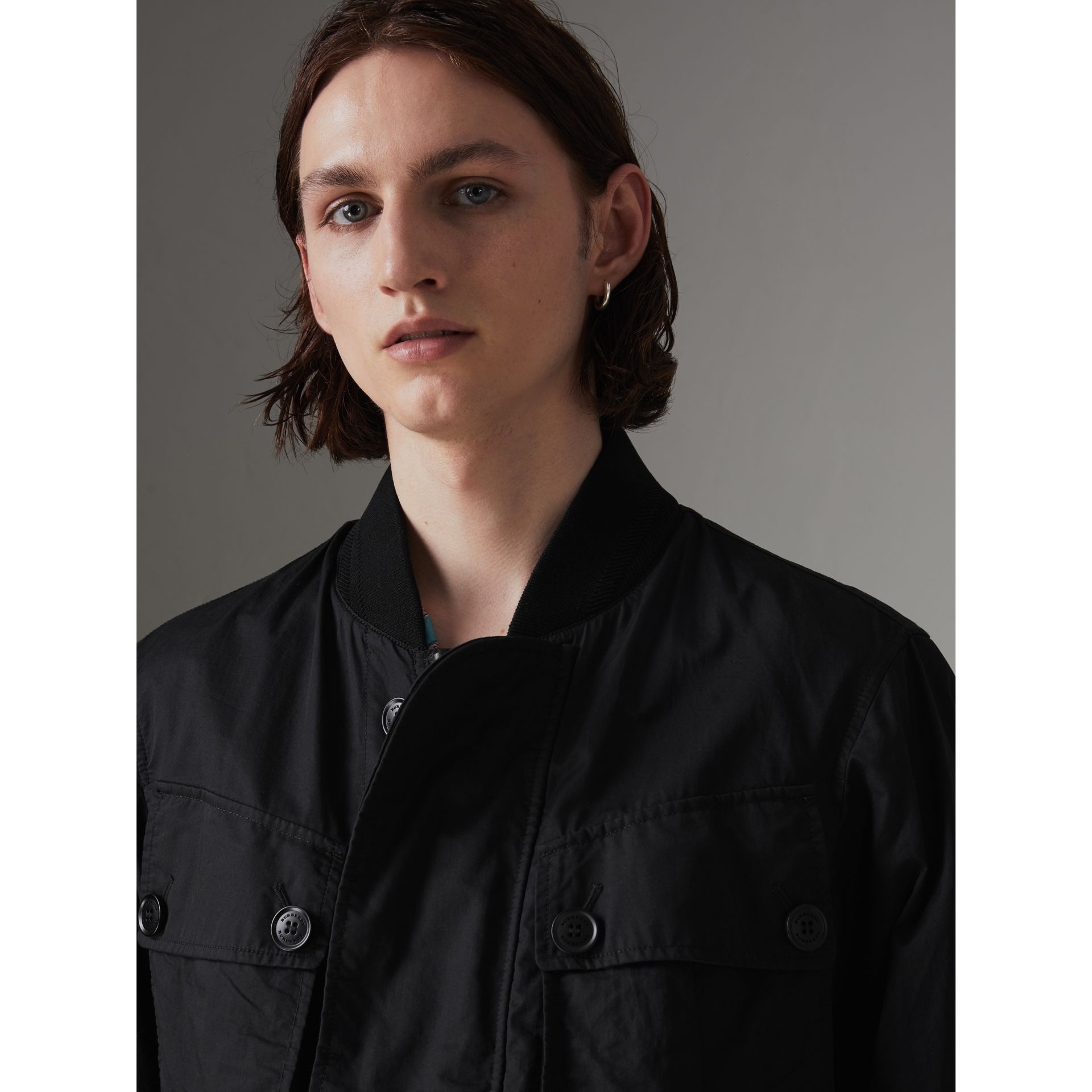 Pocket Detail Cotton Bomber Jacket in Black - Men | Burberry Singapore - gallery image 1