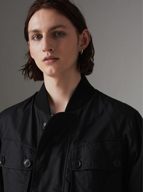 Pocket Detail Cotton Bomber Jacket in Black - Men | Burberry Singapore - cell image 1