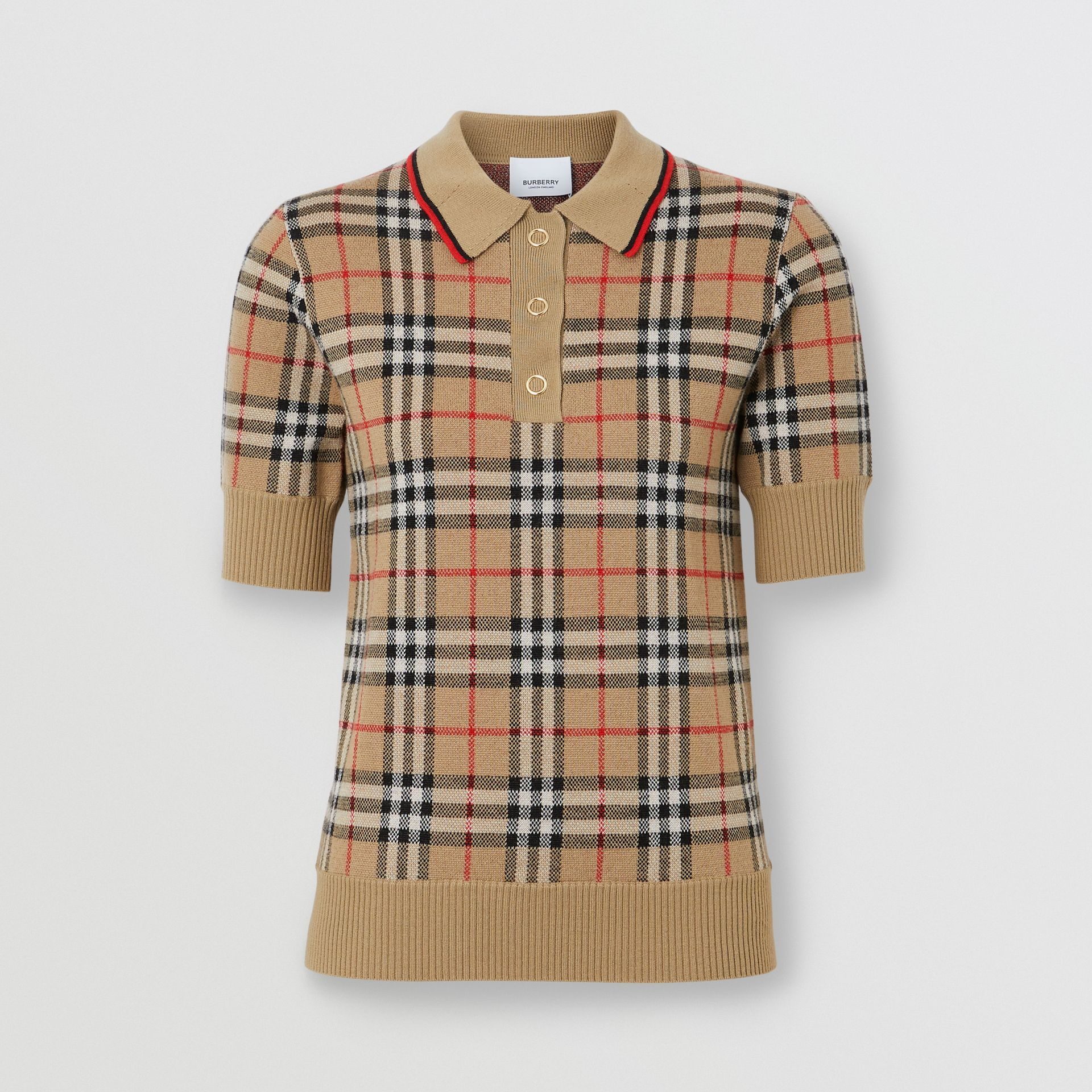 Vintage Check Merino Wool Polo Shirt in Archive Beige - Women | Burberry United Kingdom - gallery image 3