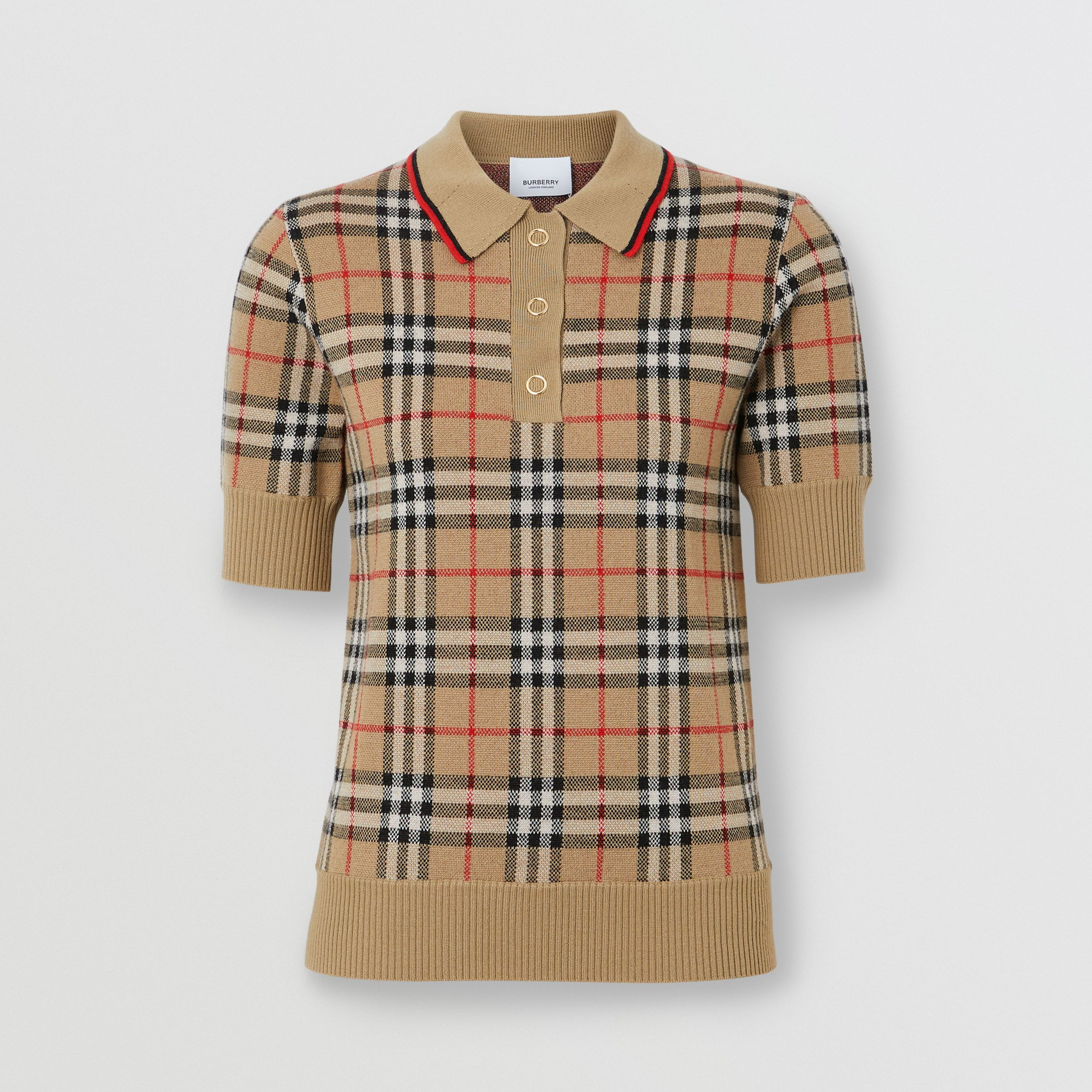 Vintage Check Merino Wool Polo Shirt in Archive Beige - Women | Burberry - 4