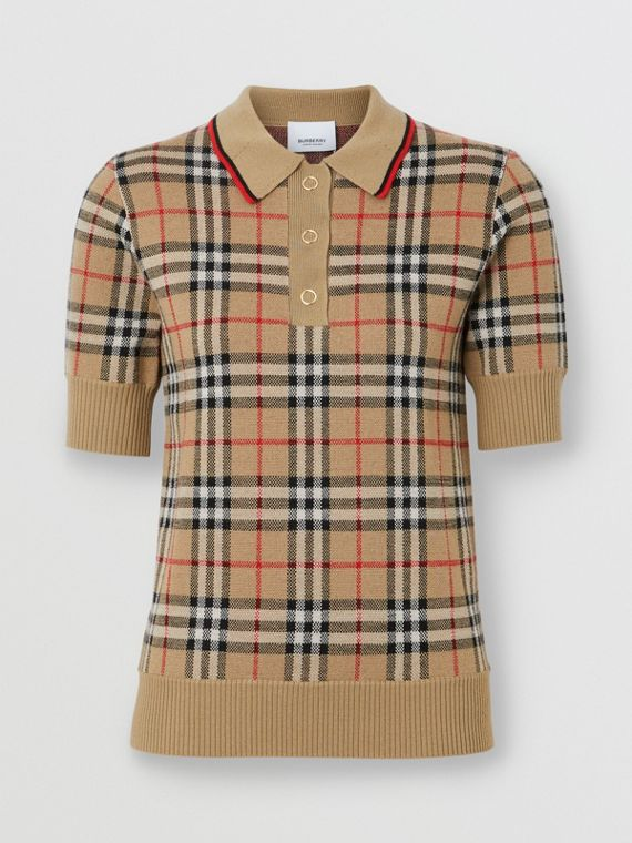 Vintage Check Merino Wool Polo Shirt in Archive Beige
