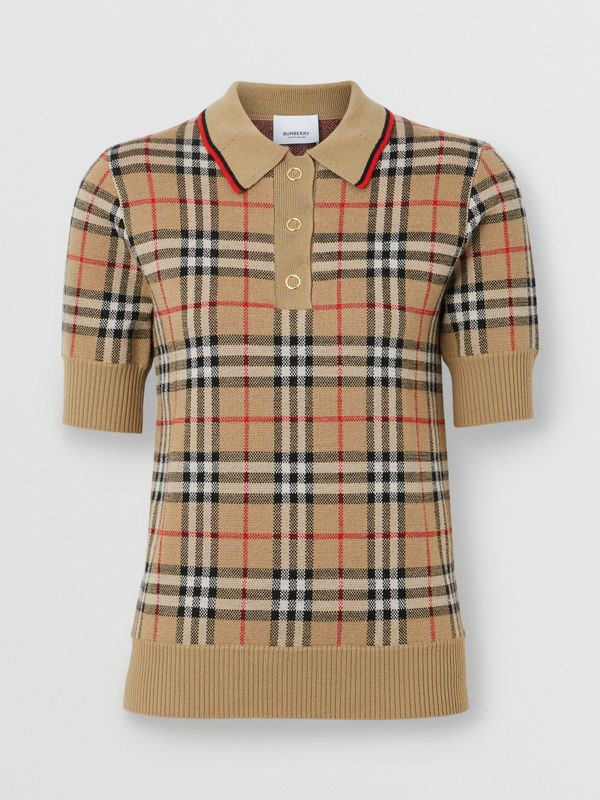 Vintage Check Merino Wool Polo Shirt in Archive Beige - Women | Burberry - cell image 3