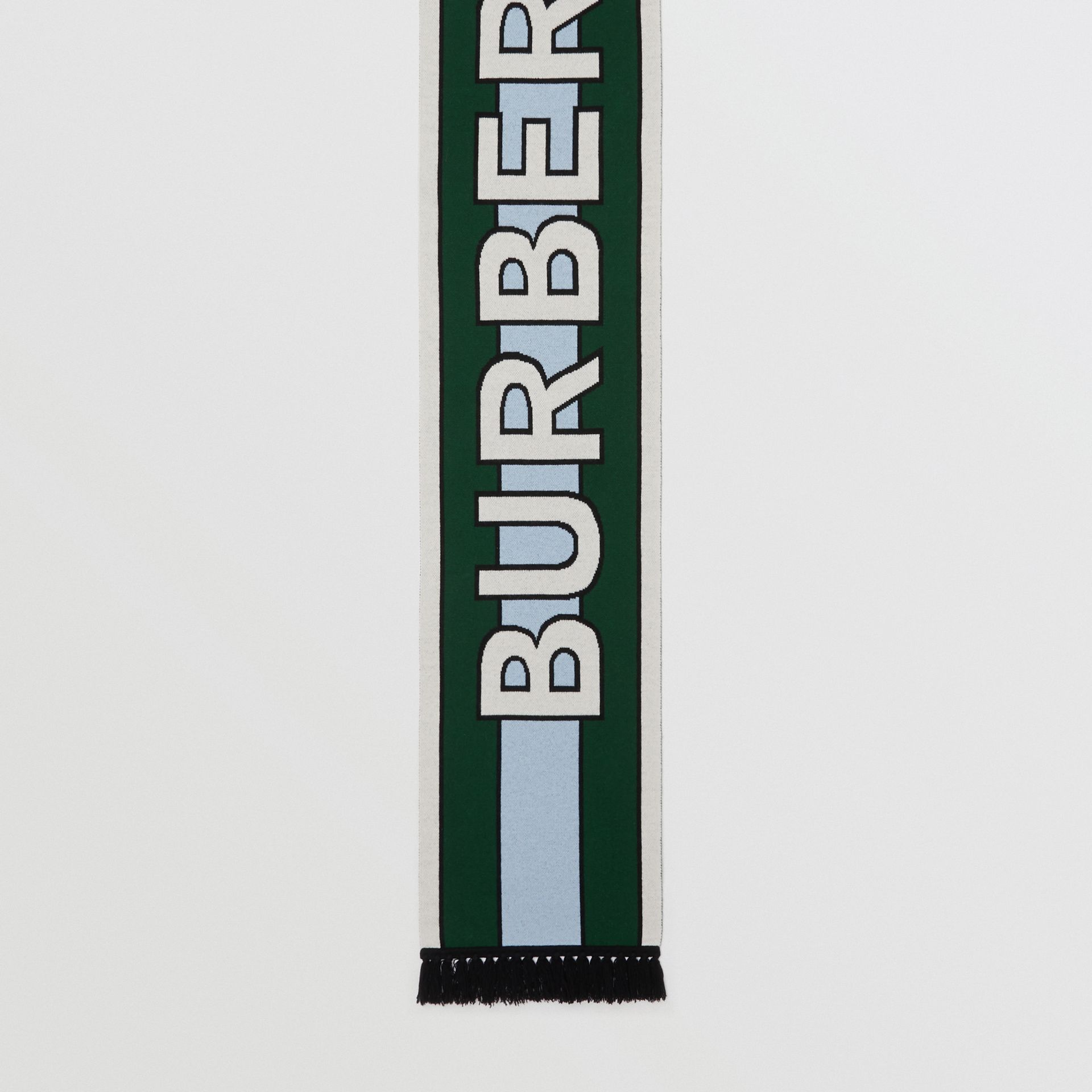 Logo Cashmere Jacquard Scarf in Dark Pine Green | Burberry - gallery image 4