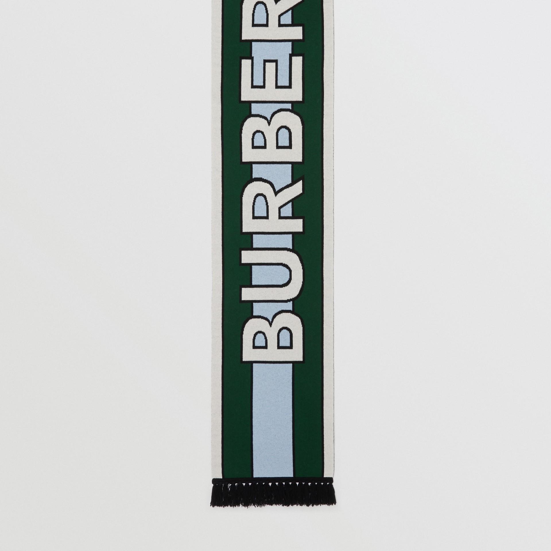 Logo Cashmere Jacquard Scarf in Dark Pine Green | Burberry Australia - gallery image 4