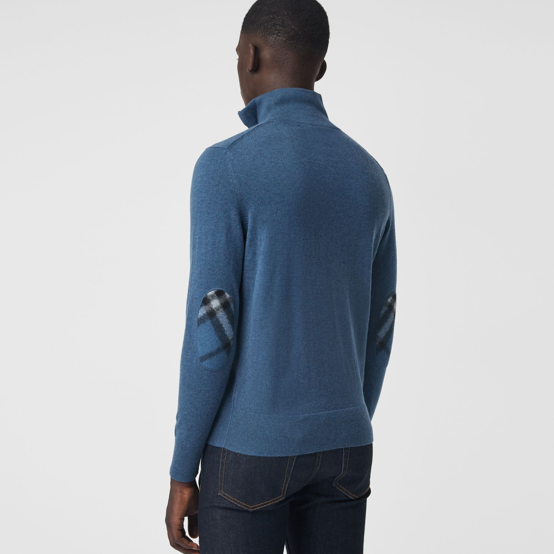 Zip-neck Cashmere Cotton Sweater in Steel Blue - Men | Burberry - gallery image 2