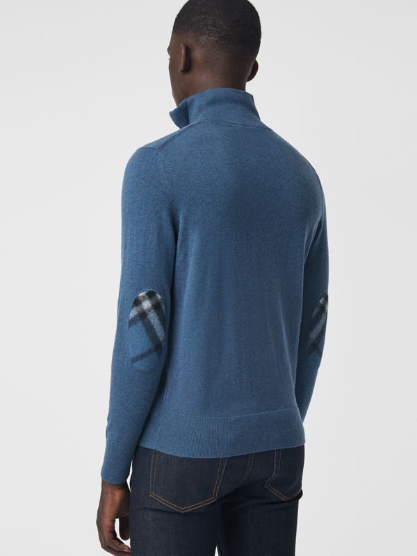 Zip-neck Cashmere Cotton Sweater in Steel Blue - Men | Burberry United States - cell image 2