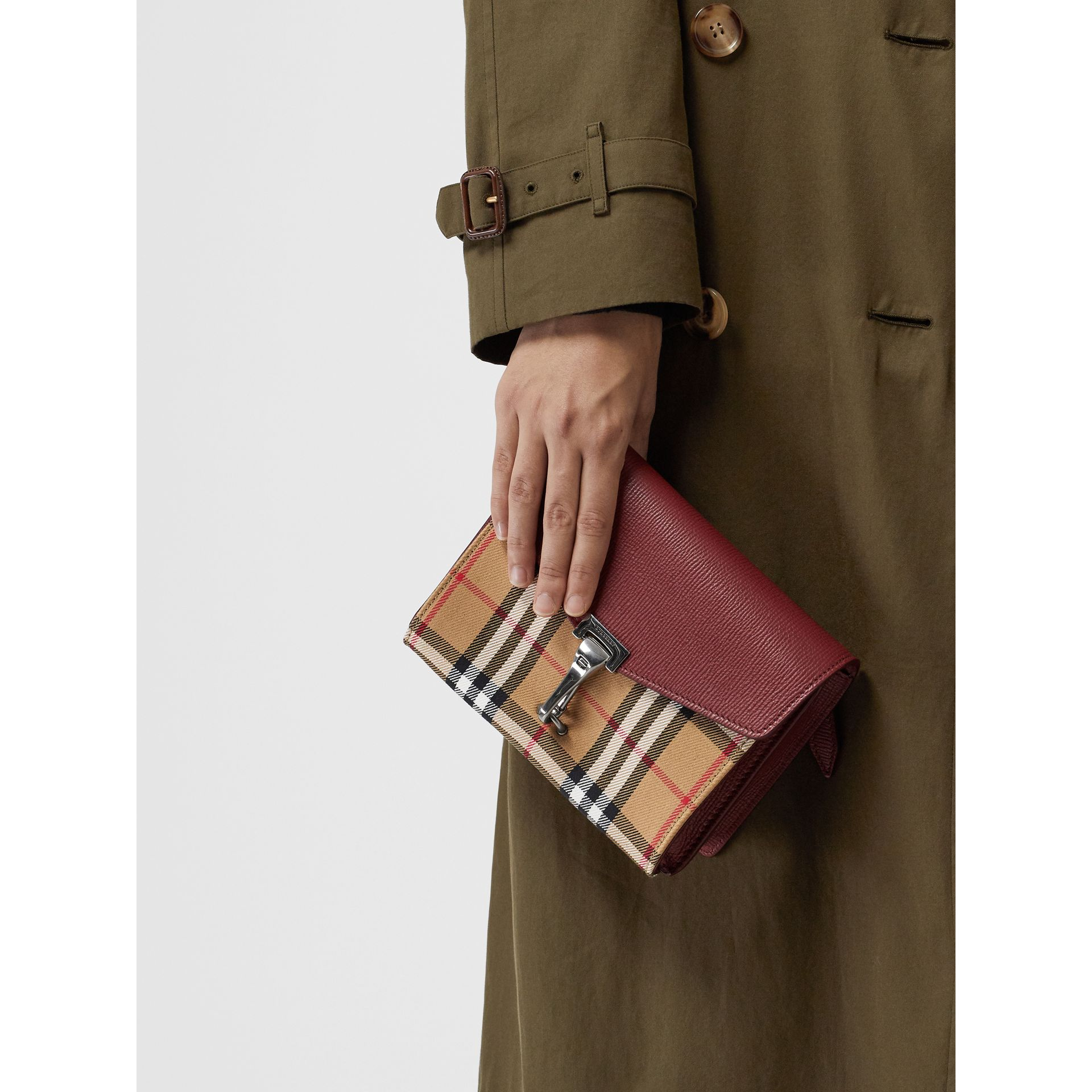Mini Leather and Vintage Check Crossbody Bag in Crimson - Women | Burberry United Kingdom - gallery image 4