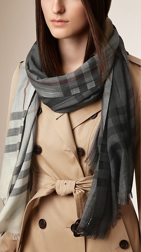 Ivory check Lightweight Check Ombre Wool Silk Scarf - Image 2