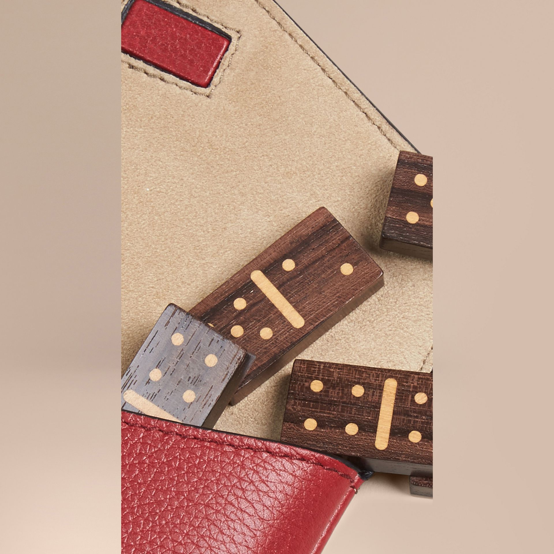 Parade red Wooden Domino Set with Grainy Leather Case Parade Red - gallery image 2