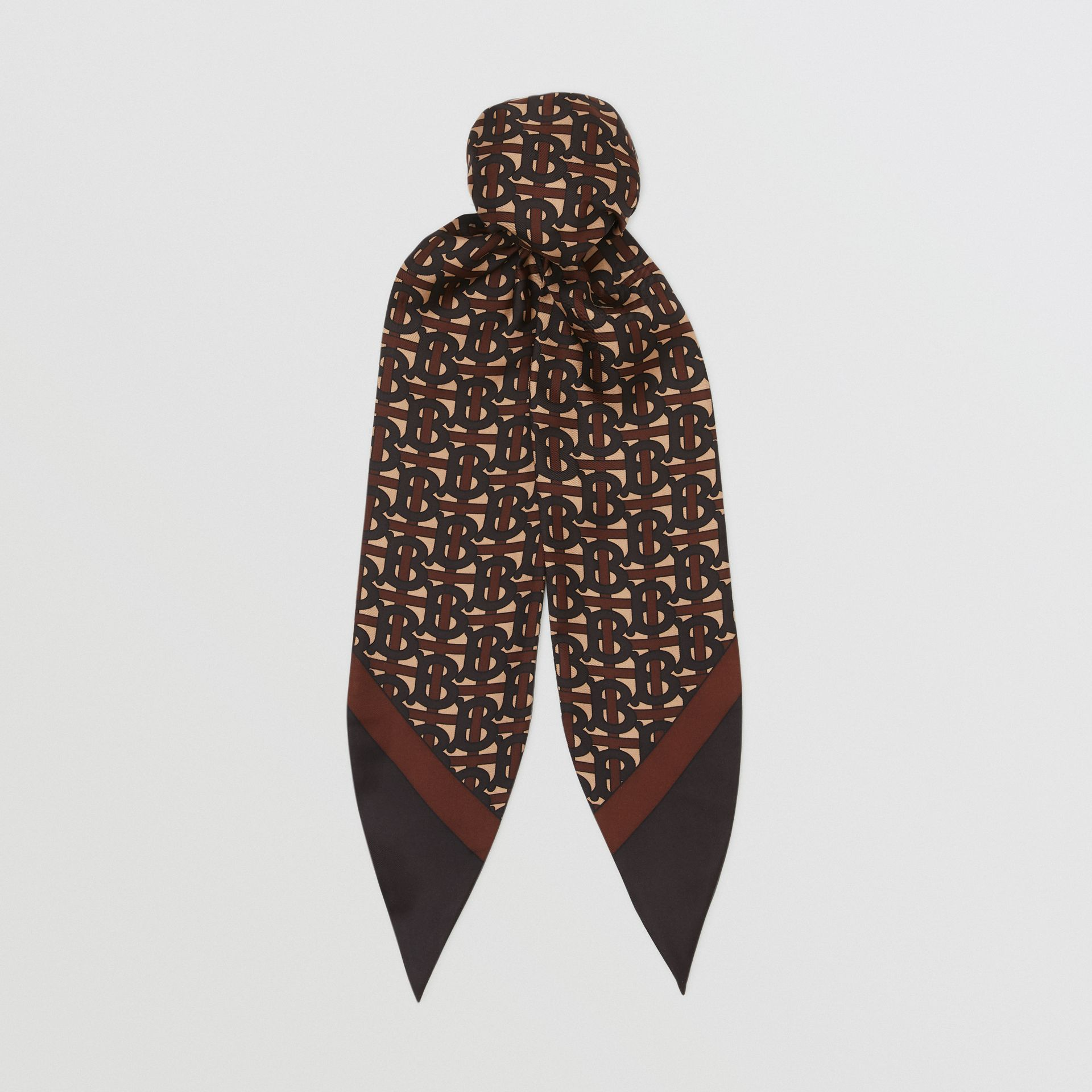 Monogram Print Silk Hair Scarf in Deep Brown - Women | Burberry Singapore - gallery image 0