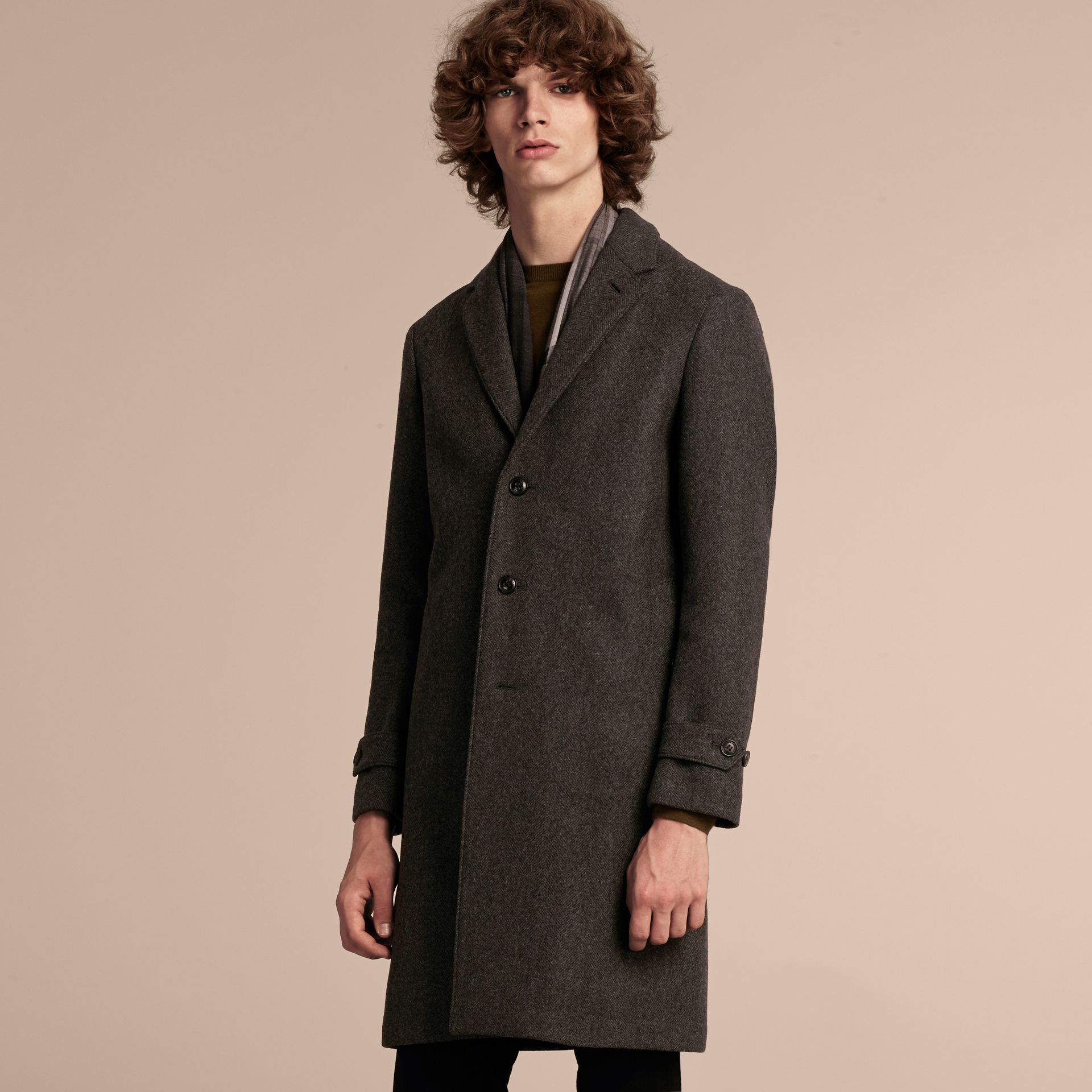 Charcoal melange Single-breasted Wool Blend Tailored Coat - gallery image 7