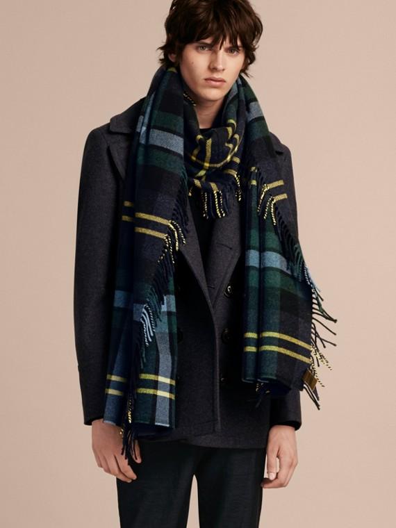 Inchiostro Sciarpa con frange in lana e cashmere con motivo tartan oversize Inchiostro - cell image 2