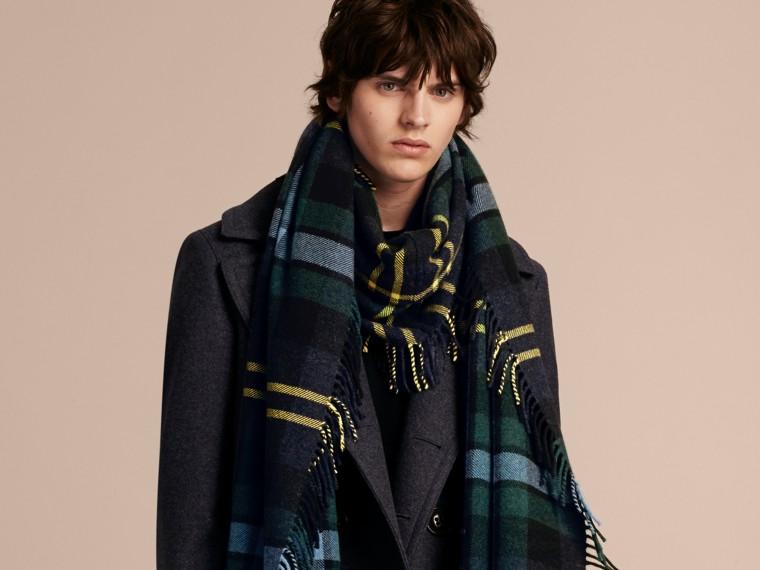 Oversize Tartan Wool Cashmere Fringe Scarf