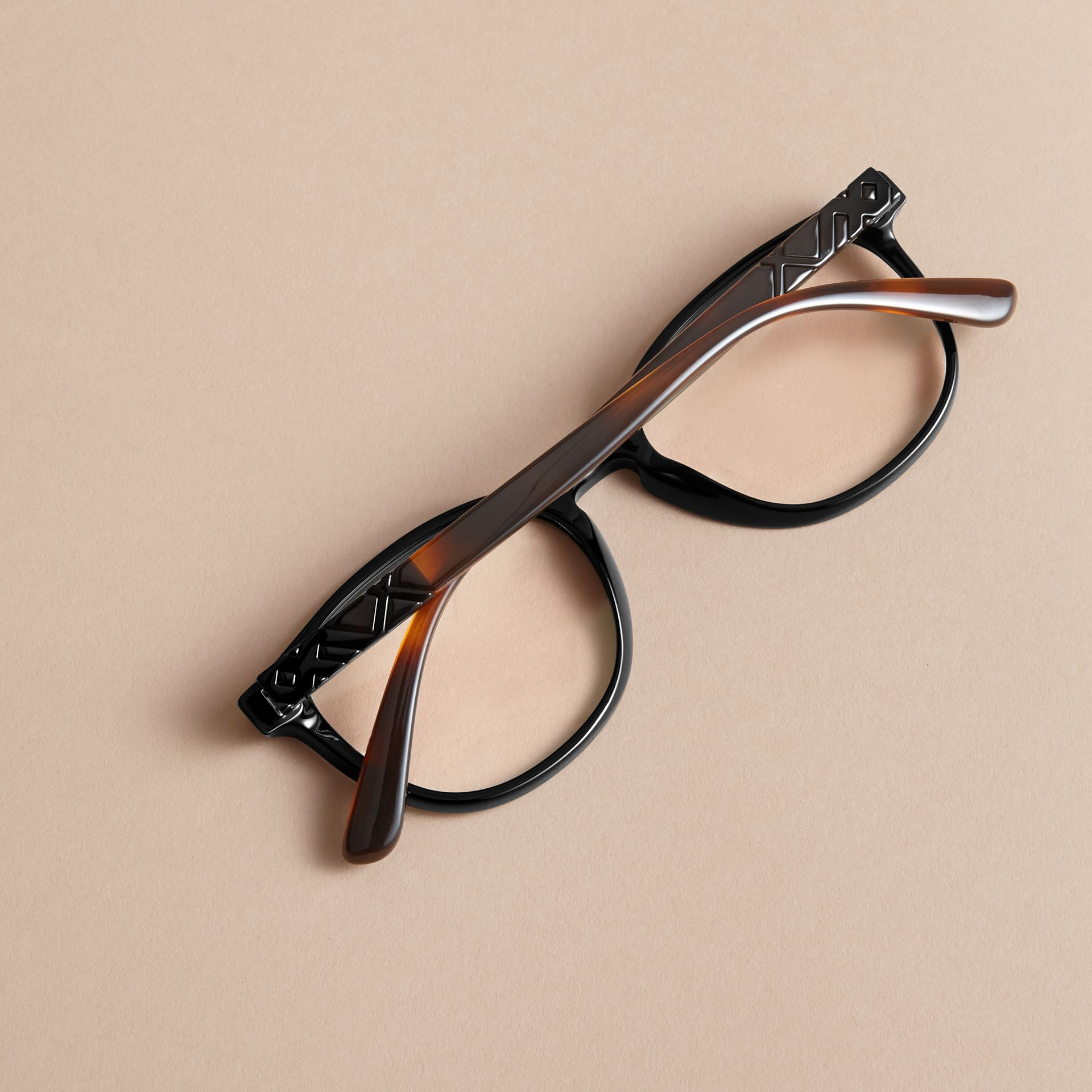 Check Detail Round Optical Frames in Black - gallery image 4