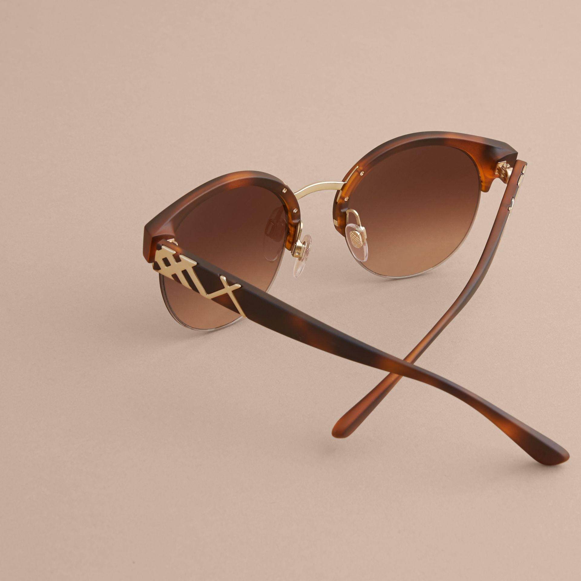 Check Detail Round Half-frame Sunglasses in Brown - Women | Burberry Australia - gallery image 3