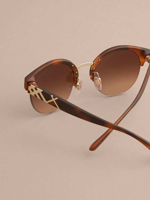 Check Detail Round Half-frame Sunglasses in Brown - Women | Burberry Canada - cell image 3