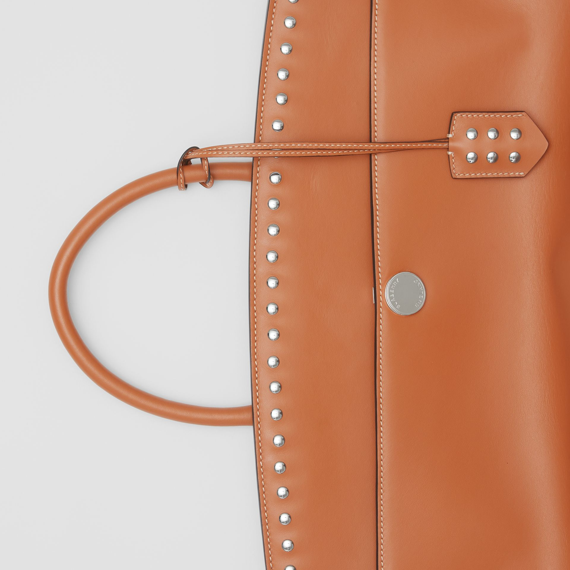 Studded Leather Society Top Handle Bag in Copper Brown - Women | Burberry - gallery image 1
