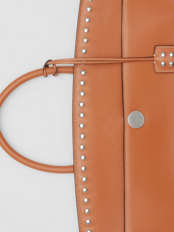 Studded Leather Society Top Handle Bag in Copper Brown - Women | Burberry - cell image 1