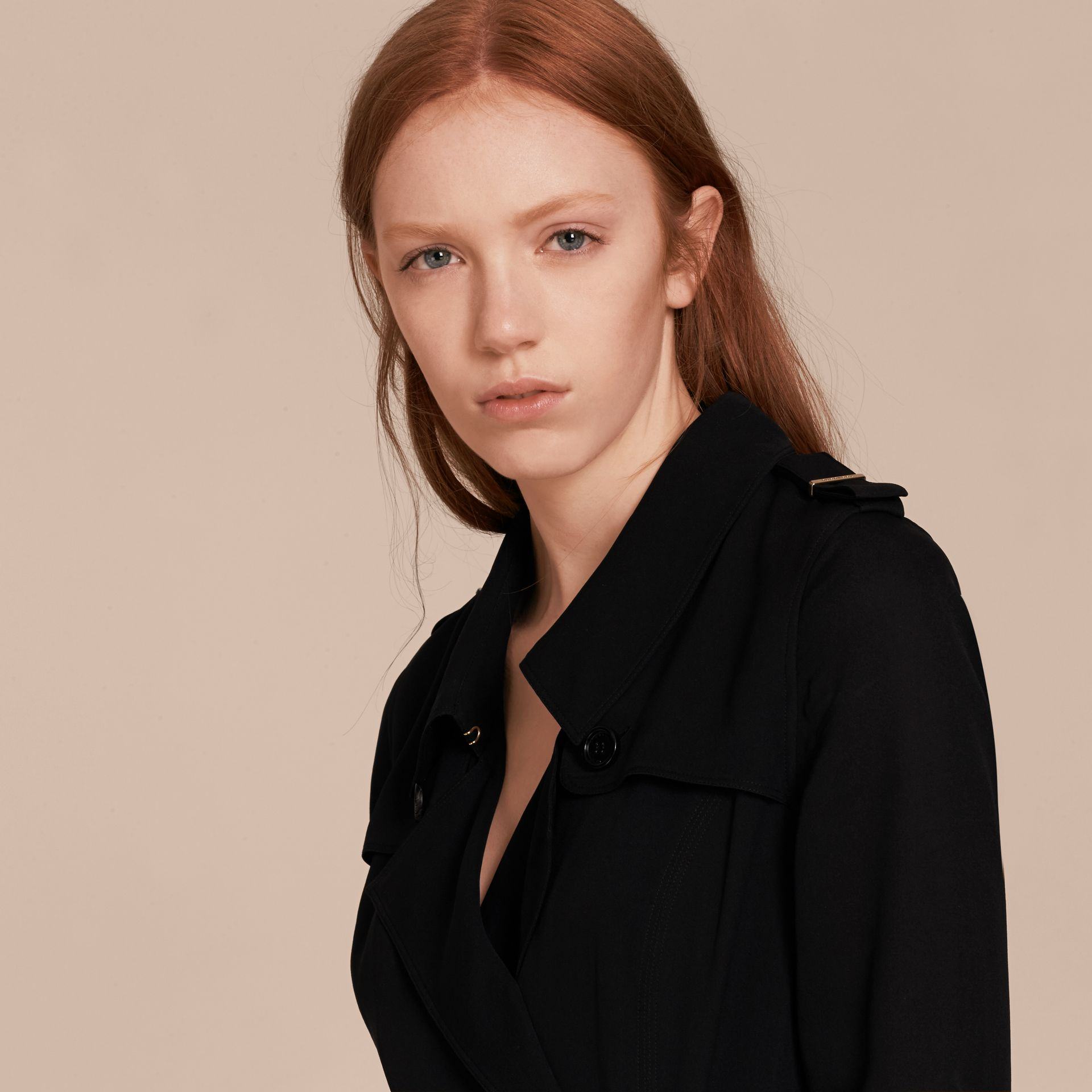 Silk Wrap Trench Dress in Black - Women | Burberry Singapore - gallery image 4