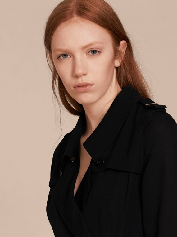 Silk Wrap Trench Dress Black - cell image 3