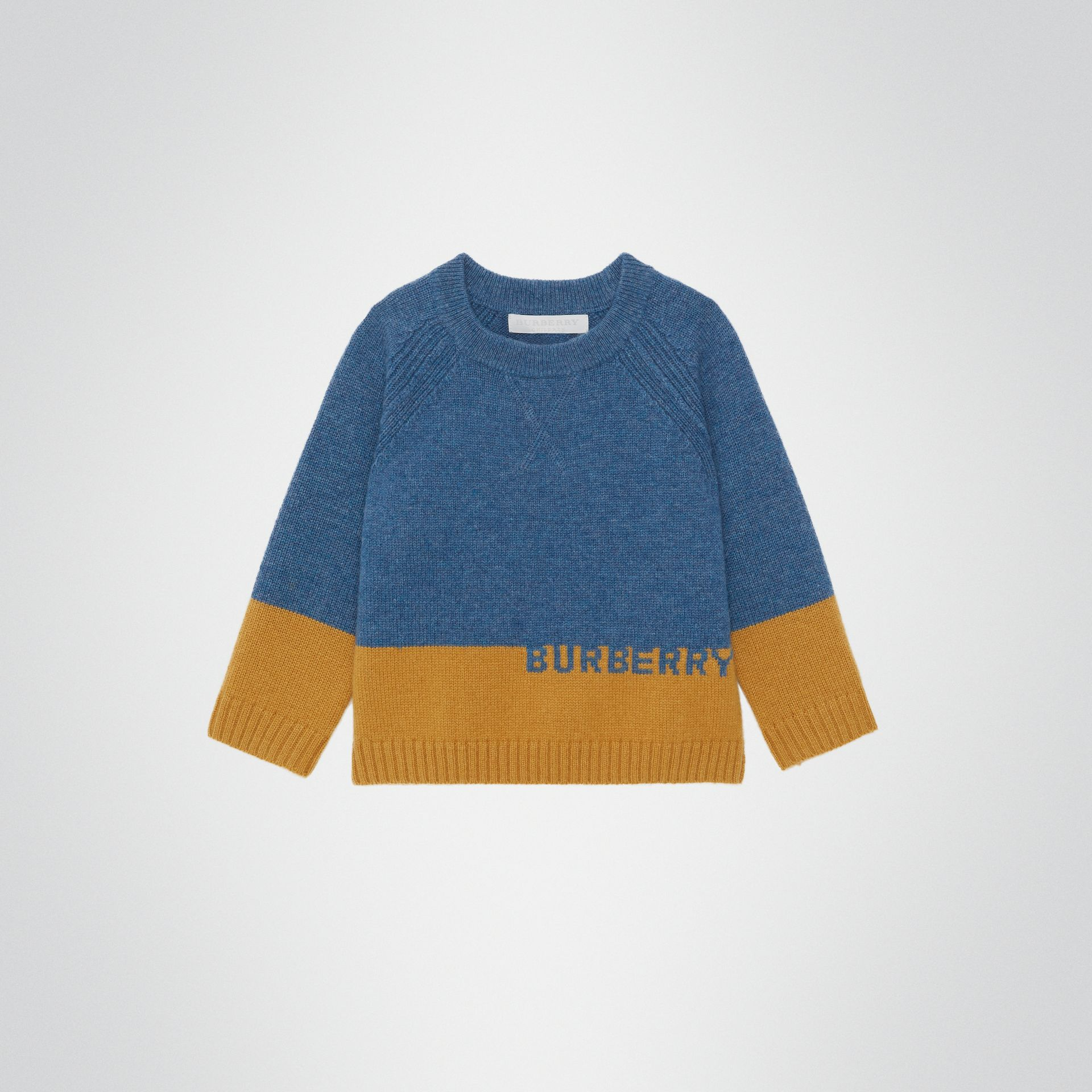 Logo Intarsia Cashmere Sweater in Dusty Blue Melange - Children | Burberry - gallery image 0