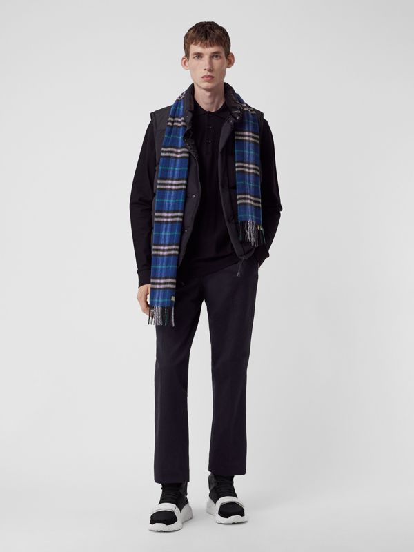 Check Cashmere Scarf in Bright Navy | Burberry - cell image 3