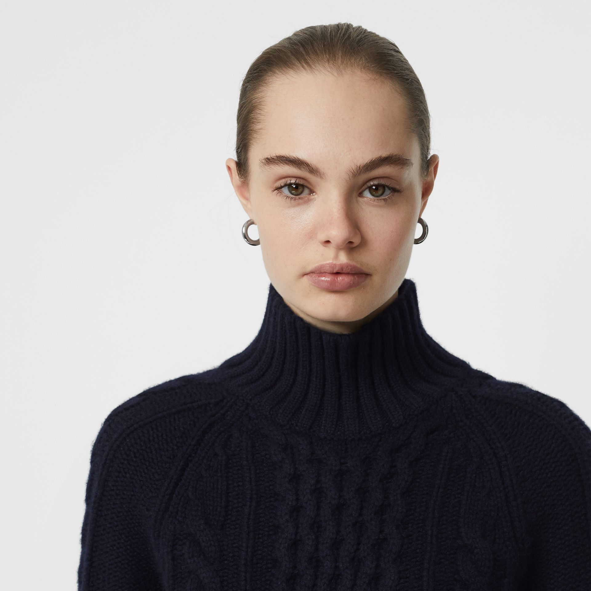 Cable Knit Cashmere Turtleneck Sweater in Navy - Women | Burberry - gallery image 1