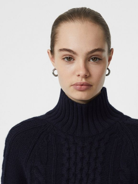 Cable Knit Cashmere Turtleneck Sweater in Navy - Women | Burberry Singapore - cell image 1
