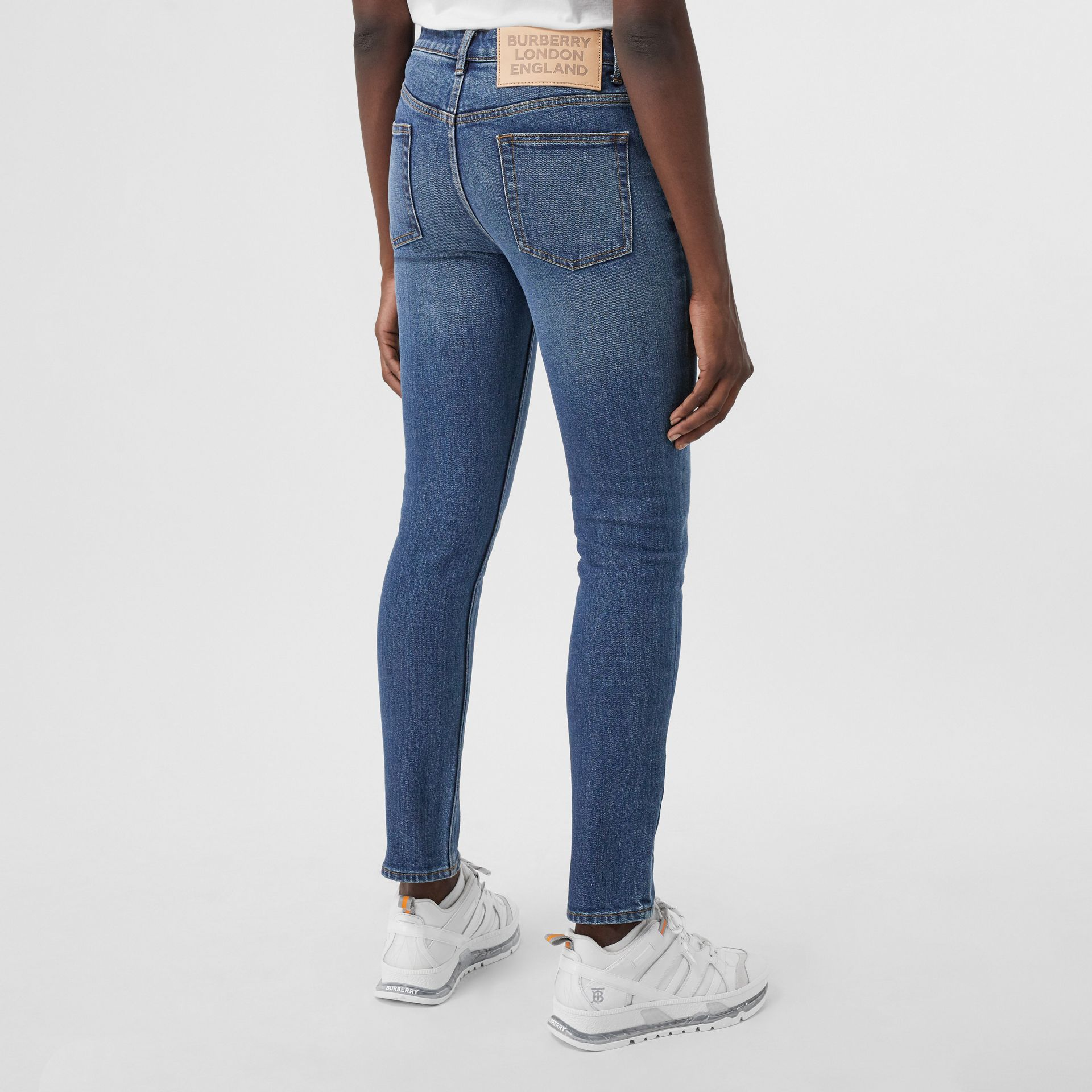 Skinny Fit Japanese Denim Jeans in Indigo Blue - Women | Burberry - gallery image 2