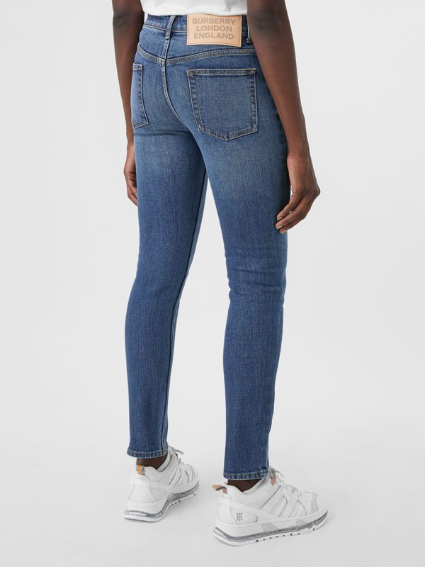 Skinny Fit Japanese Denim Jeans in Indigo Blue - Women | Burberry - cell image 2