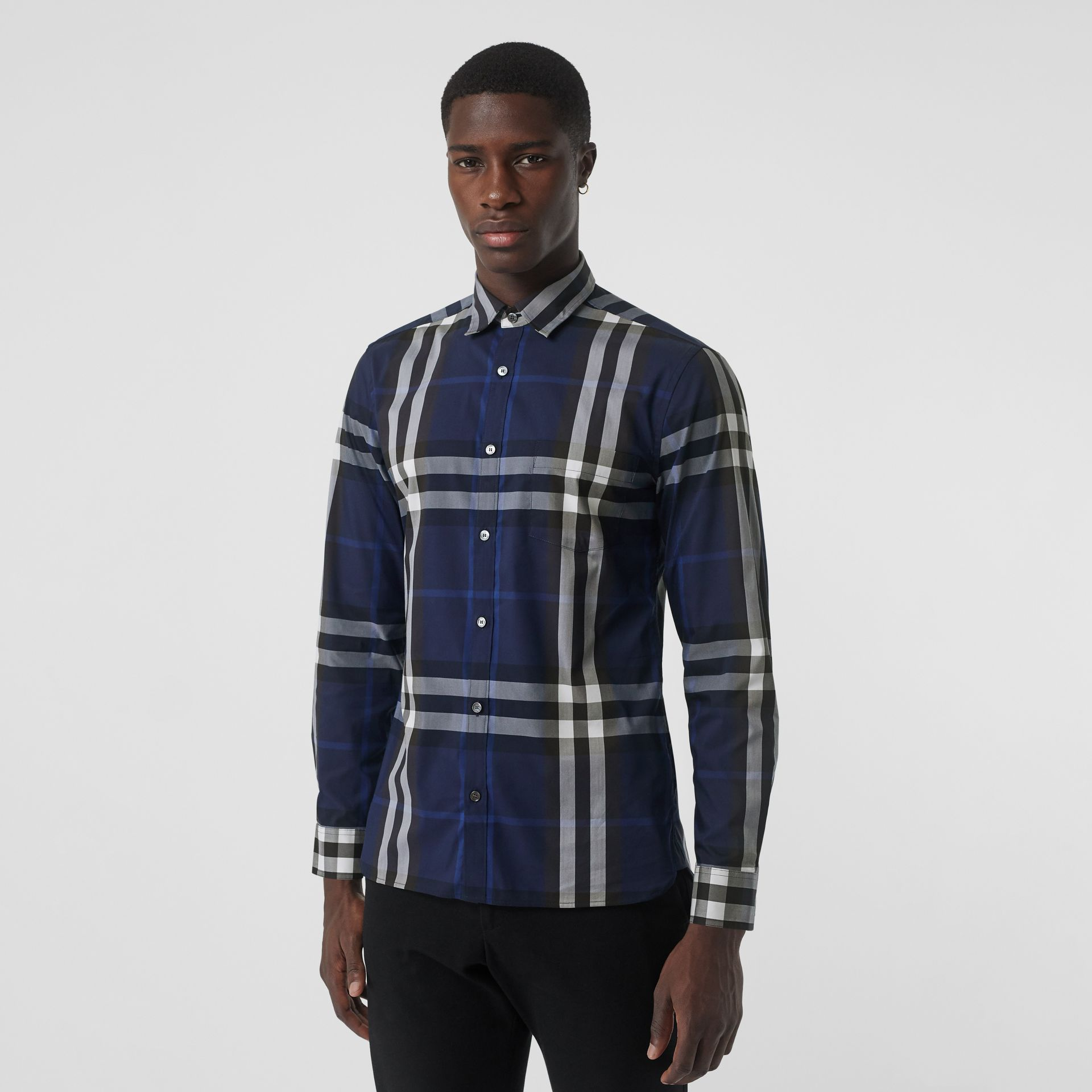 Check Stretch Cotton Shirt in Indigo Blue - Men | Burberry - gallery image 0