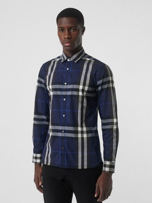 Burberry Cottons Check Stretch Cotton Shirt