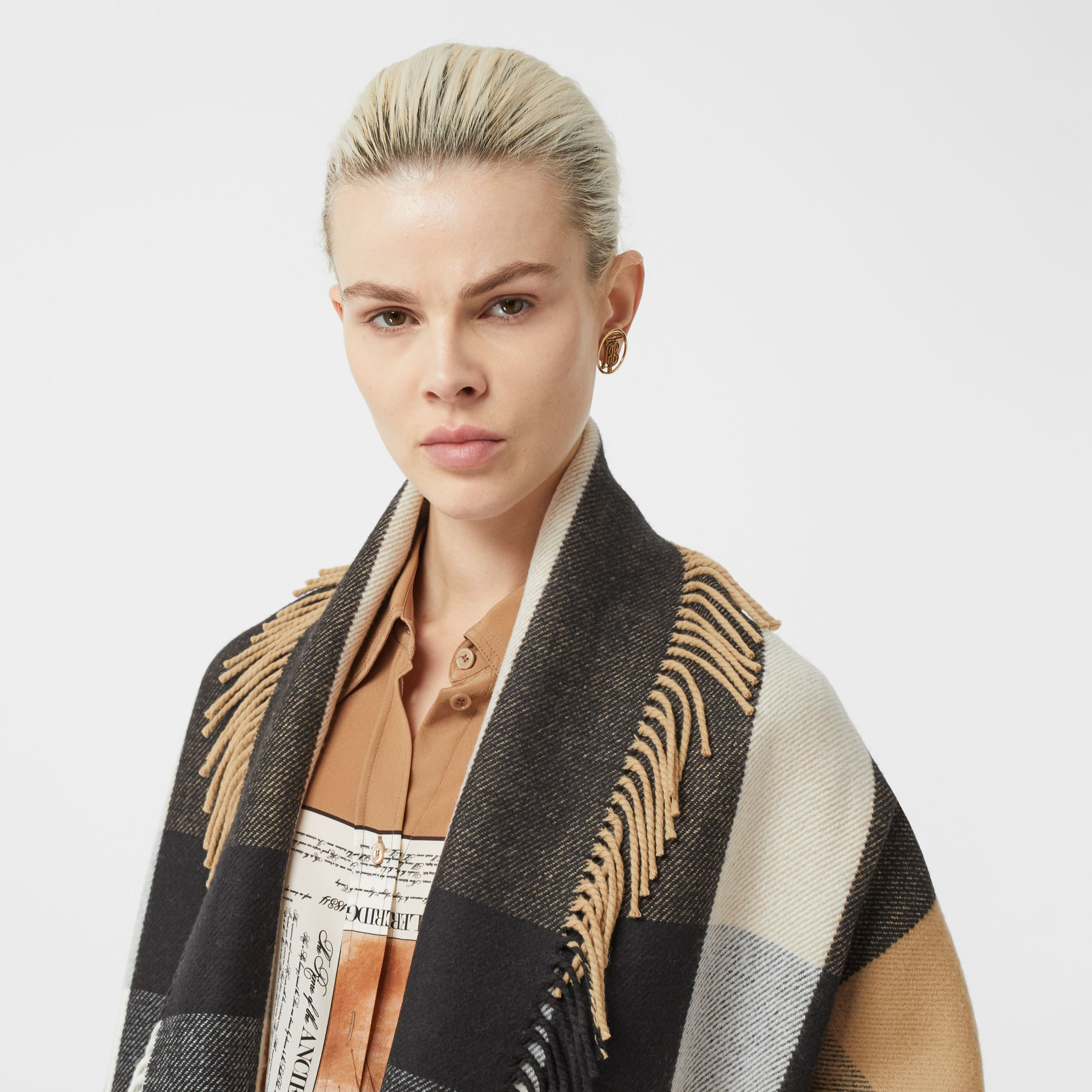 Check Wool Cashmere Jacquard Cape in Archive Beige - Women | Burberry - 2