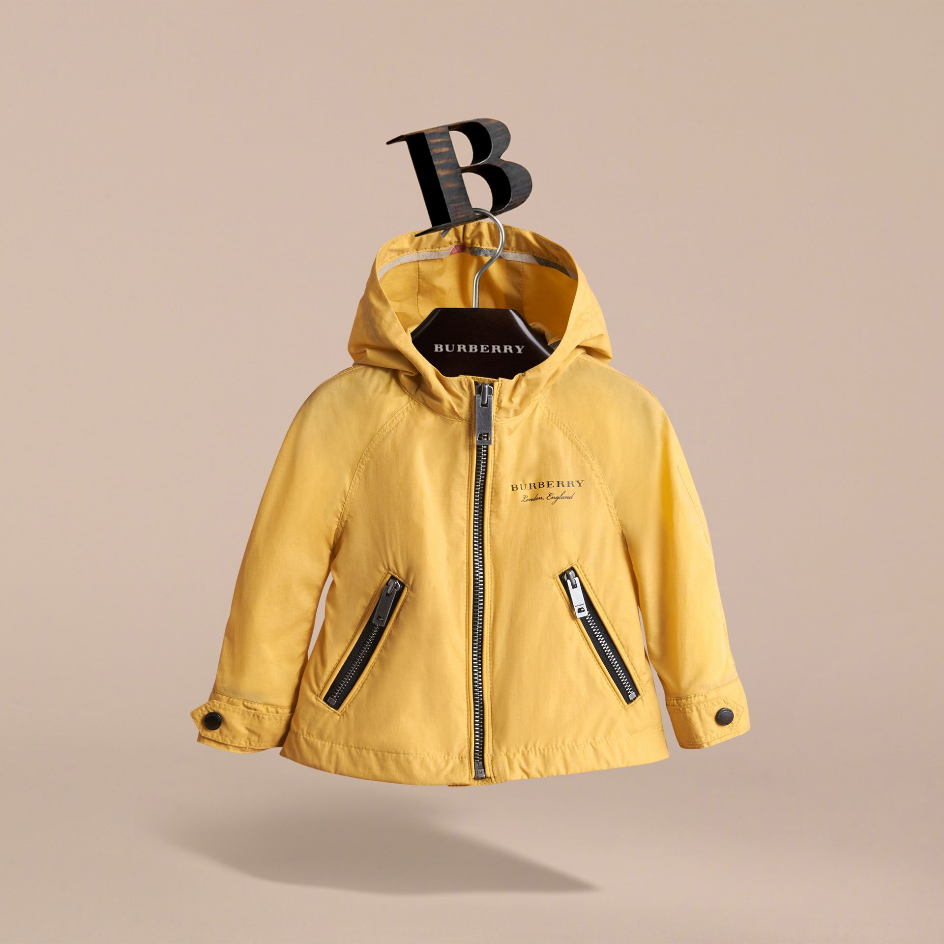 Showerproof Hooded Jacket in Gorse Yellow | Burberry Australia - gallery image 3