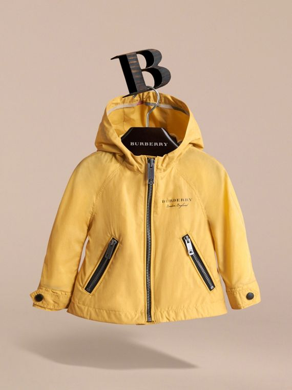 Showerproof Hooded Jacket in Gorse Yellow | Burberry Australia - cell image 2