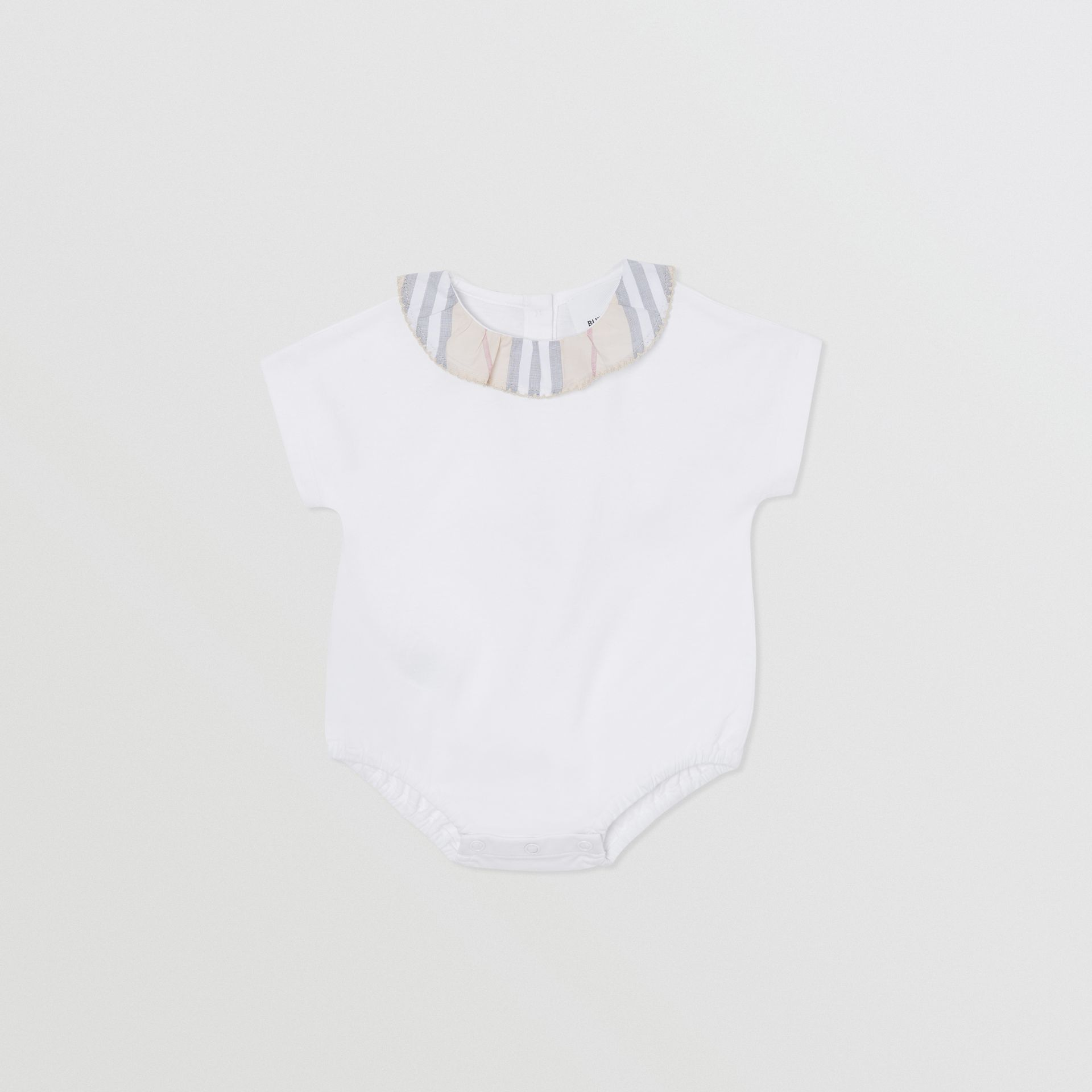 Icon Stripe Cotton Three-piece Baby Gift Set in Pale Stone - Children | Burberry - gallery image 4