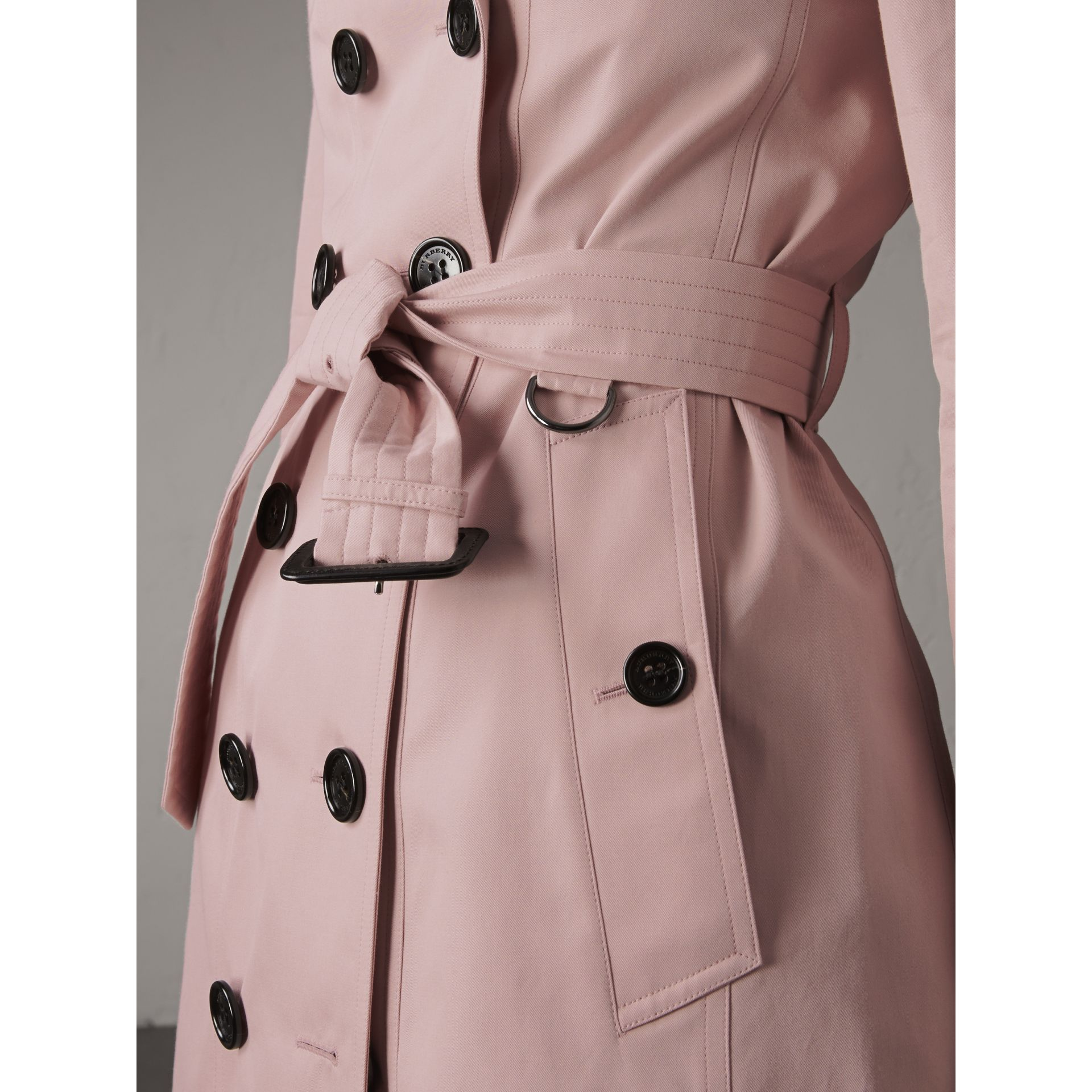 Cotton Gabardine Mid-length Trench Coat in Ice Pink - Women | Burberry Singapore - gallery image 5