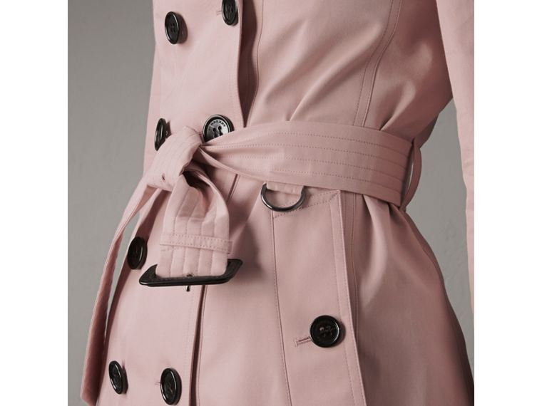 Cotton Gabardine Mid-length Trench Coat in Ice Pink - Women | Burberry - cell image 4