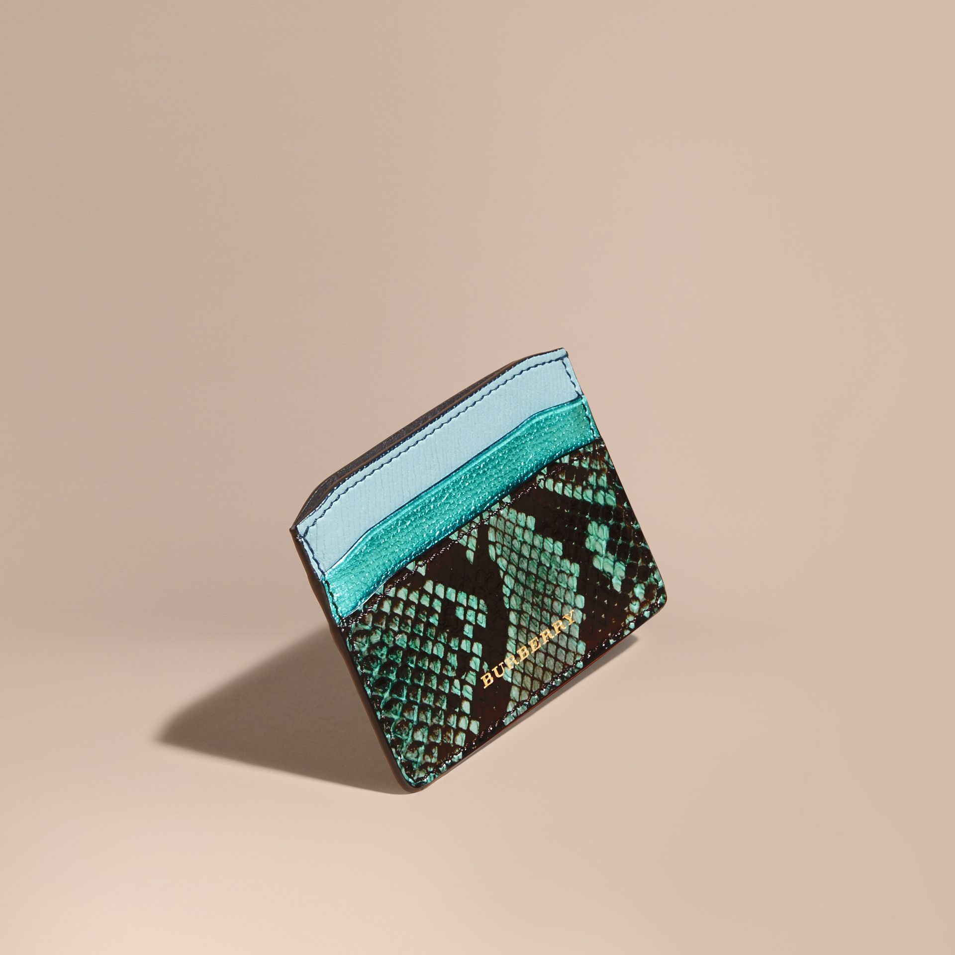 Light mint Colour Block Leather and Snakeskin Card Case Light Mint - gallery image 1