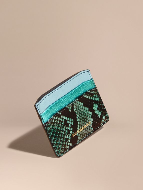 Colour Block Leather and Snakeskin Card Case Light Mint