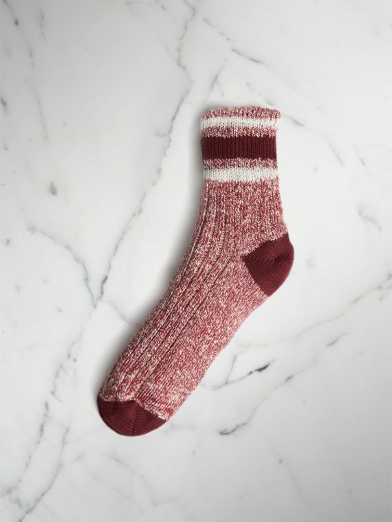 Striped Detail Chunky-knit Cotton Mouliné Socks in Burgundy