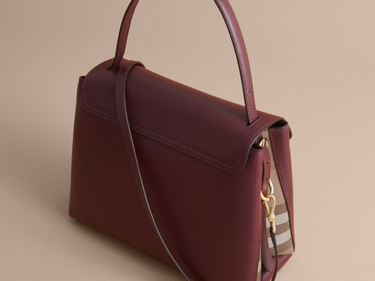 Medium Grainy Leather and House Check Tote Bag in Mahogany Red - Women | Burberry Australia - cell image 4