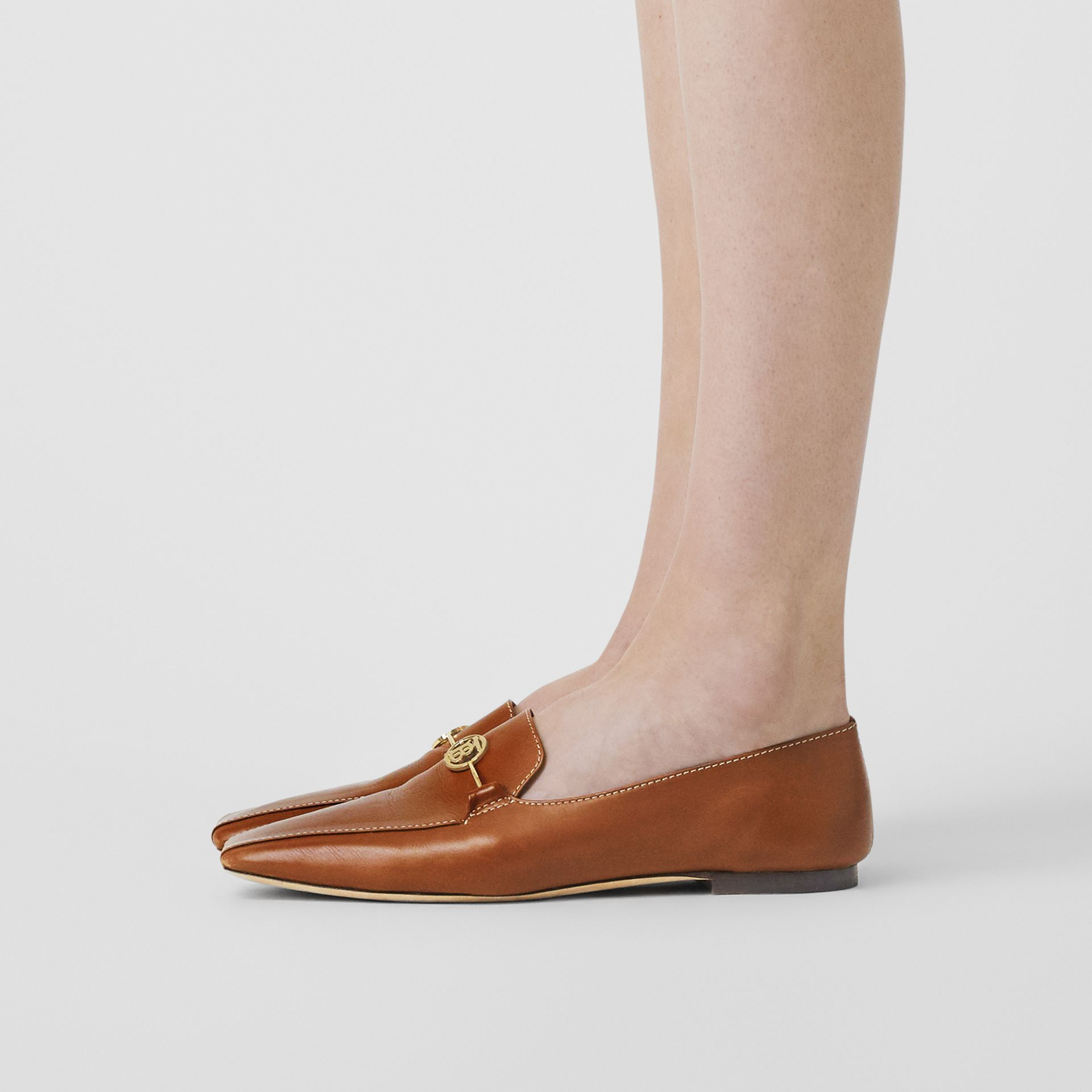 Monogram Motif Leather Loafers in Tan - Women | Burberry - gallery image 2