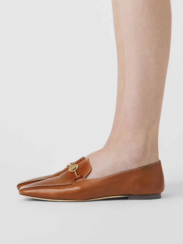 Monogram Motif Leather Loafers in Tan - Women | Burberry United Kingdom - cell image 2